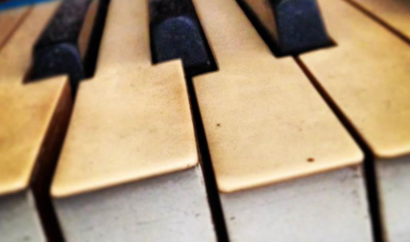 close up of wonky piano keys