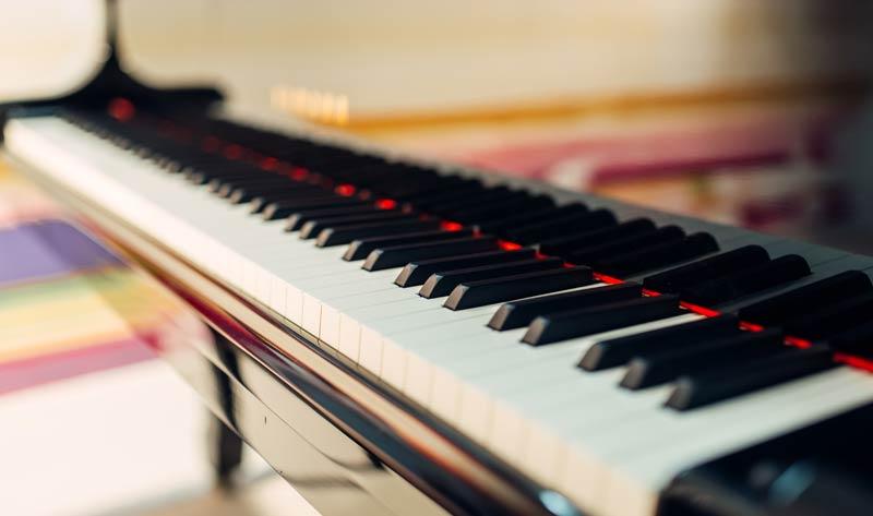 grand piano keys closeup