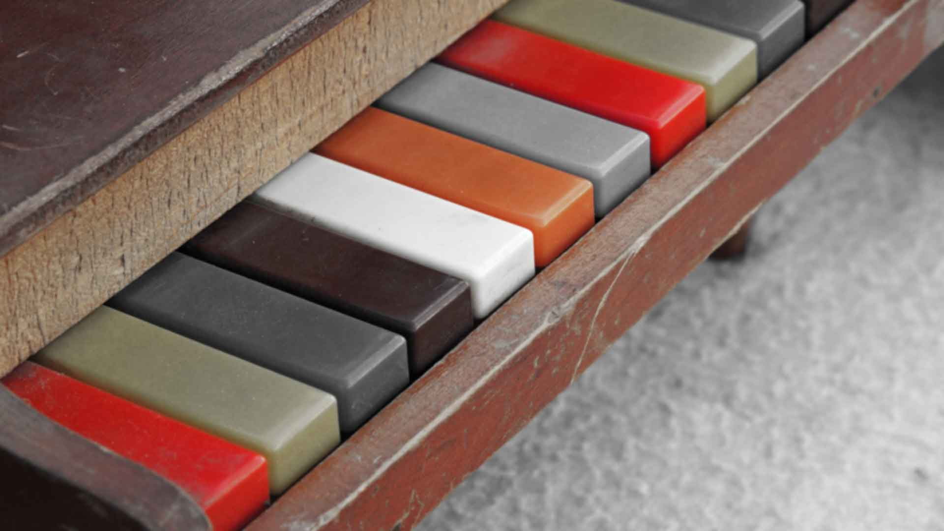piano keys in various colours background